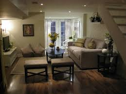 home decor interior basement room idea with black loveseat and