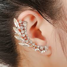 cuff earring hot selling girl stylish wing rock chain ear cuff
