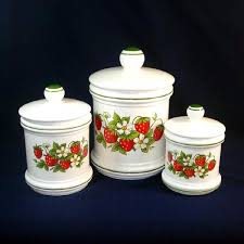 set 3 strawberries ceramic kitchen canisters from coppertonlane on