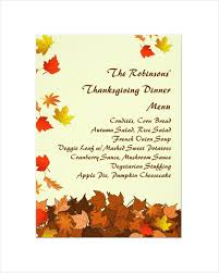thanksgiving dinner menu templates happy thanksgiving
