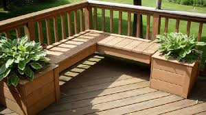 l shaped deck bench with planters for the home