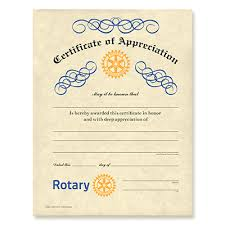 sample text for certificate of appreciation rotary certificate of appreciation rotary club supplies