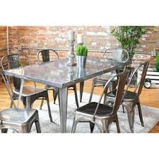 Metal Dining Room Tables | carbon loft swan industrial metal dining table free shipping today