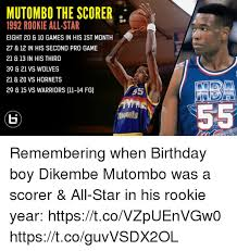 Mutombo Meme - mutombo the scorer 1992 rookie all star eight 20 10 games in his