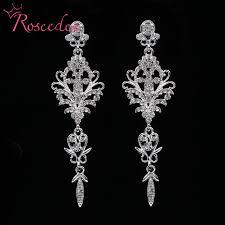 wedding earrings drop fashion wedding earrings inlay shinning rhinestone big drop