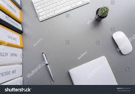 Desk Organized by Office Work Space On Grey Desk Stock Photo 257116513 Shutterstock