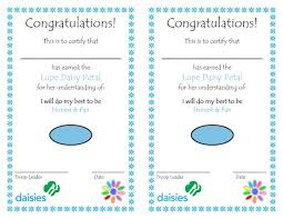 lupe petal have a nice certificate to hand out to the girls to