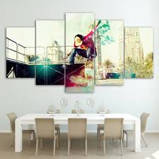 online buy wholesale skateboard pictures from china skateboard 5 panel cool skateboarding painting modular paintings wall to room frames posters print canvas wall art