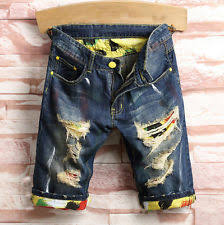 Ripped Denim Jeans For Men Animal Print Denim Shorts For Men Ebay