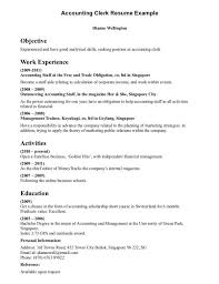 Bookkeeper Resume Samples by Examples Of Accounting Clerk Resume Sample Objective Work