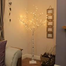 white tree with lights 6ft birch twig tree with 96 warm white leds by festive lights
