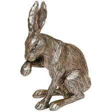 champagne bronze hare sitting cleaning figure ornament figurine