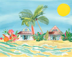 surf shacks beach artwork by liz lind