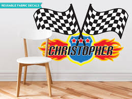 Nascar Bedroom Furniture by Amazon Com Race Flags With Custom Name Fabric Wall Decal Nascar
