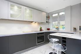 small kitchen design in two tone finish handleless anthracite