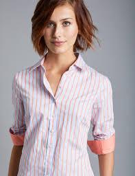 women u0027s blue and orange stripe semi fitted shirt single cuff