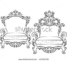 set classic furniture rich baroque ornaments stock vector