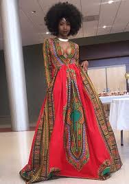 red floral african patterns print long sleeve floor length african