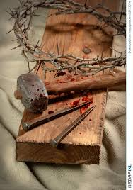 cross with nails crown of thorns and hammer stock photo 52173874