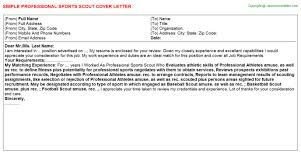 professional sports scout cover letter