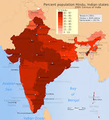 Map Of India States by A Map Of India Showing The Hindu Percentage Of The Total