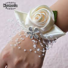 bridesmaid corsage kyunovia wedding prom corsage wrist corsages flower pearl