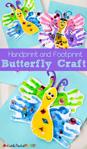adorable handprint and footprint butterfly craft for kids