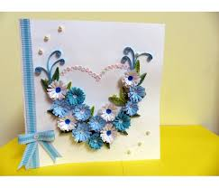 paper greeting cards all blues heart with a paper ribbon greeting card buy handmade