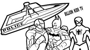 spiderman vs batman vs iron man with police boat coloring book