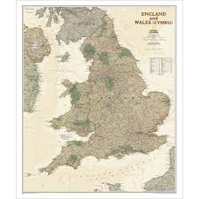 Wales England Map by England And Wales Executive Wall Map National Geographic Store