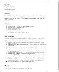 Customer Service Example Resume by Customer Service Supervisor Resume 2 Resume Templates Customer