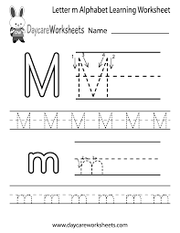 Writing The Alphabet Worksheets Free Letter M Alphabet Learning Worksheet For Preschool