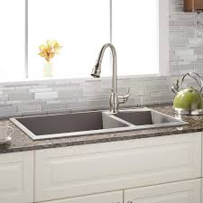 overmount sink on granite 34 arvel 70 30 offset double bowl drop in granite composite sink