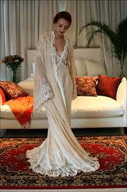 wedding sleepwear bridal nightgown satin white wedding venise lace