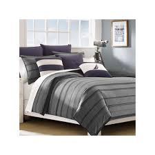 Nautica Duvet Nautica Sebec Grey 2pc Twin Duvet Comforter Cover Sham Set Stripe