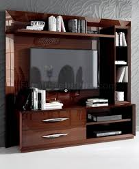 Contemporary Wall Units Carmen Wall Unit By Esf In Walnut High Gloss