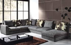 living room furniture design with gray velvet sectional sofa set