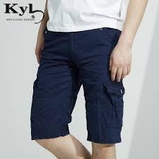 Comfort Waist Mens Shorts Men Shorts Summer 2017 Knee Length Men Short Pants Cotton Blue