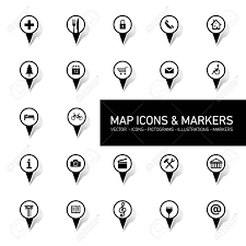 vector black and white map icons and markers set on white