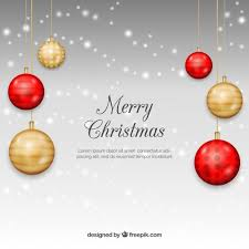 christmas background realistic golden red baubles vector
