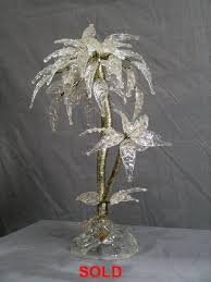 art deco palm tree centerpiece in glass