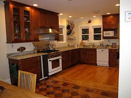 me your stained wood cabinets with wood floors