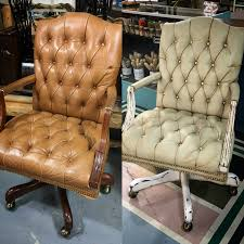 Distress Leather Chair Leather Chair Painted With Chalk Paint By Annie Sloan In Country