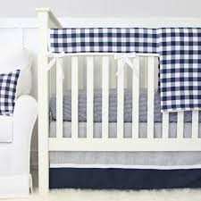 Harlow Crib Bedding by Brett U0027s Navy Gingham Crib Rail Cover Caden Lane