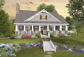 Sloped Lot House Plans Country Craftsman With Matching Back Porches 20109ga