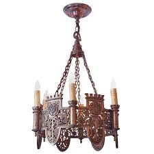 Tudor Chandelier Beautifully Detailed Six Light Bronze Tudor Style