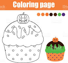 coloring page with halloween cupcake drawing kids activity stock