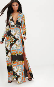 sleeve maxi dress orange scarf print plunge sleeve maxi dress dresses