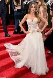 wedding dress cast sofia vergara displays cleavage at the met gala in marchesa gown