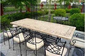 wrought iron outdoor dining table 78 outdoor patio dining table italian mosaic stone marble tuscany